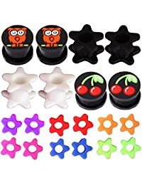 BodyJ4You 20PCS Gauge Plugs Double Flare Flexible Silicone Tunnel Owl Cherry Flower Ear Expander 2G-12mm