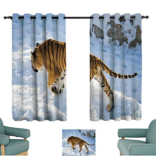 WinfreyDecor Printed Curtain Bengal Tiger Suitable for Bedroom Living Room Study, etc.55 Wx63 L