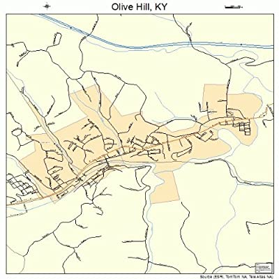 Large Street & Road Map of Olive Hill, Kentucky KY - Printed poster size wall atlas of your home town