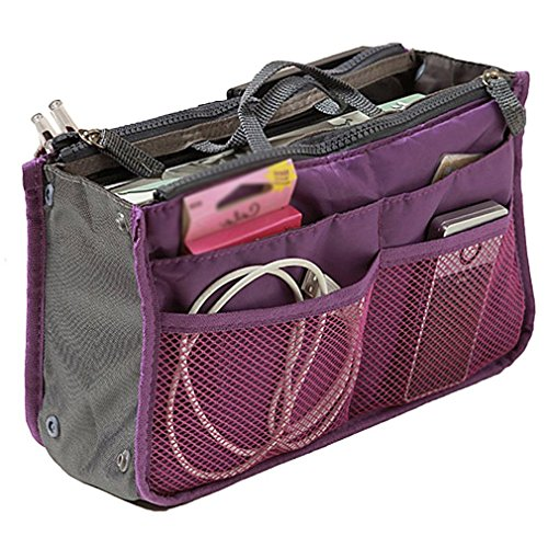 Handbag Pouch Bag in Bag Organiser Insert Organizer Tidy Travel Cosmetic Pocket Bag(Purple)