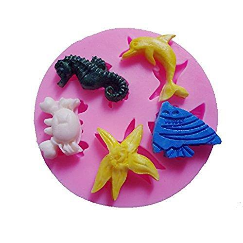 Generic pequeño mar Lifes delfín mar pescado cangrejo estrella de mar Hippocampus molde de silicona azúcar Craft DIY NY Cake Cake Decorating: Amazon.es: ...