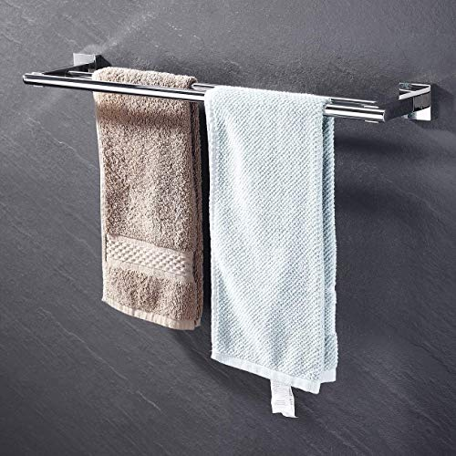 KES Bathroom Double Towel Bar SUS 304 Stainless Steel Bath Wall Shelf Rack Hanging Towel Dual Hanger 23-Inch Contemporary Style, Polished Finish, A2201 ()