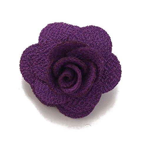 Sunny Home Men's Lapel Flower Handmade Boutonniere Pin for Suit (Purple)