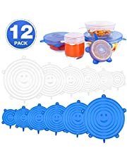 Emmabin Silicone Stretch Lids, Silicone Food Covers Fit Various Sizes of Containers, Dishes, Bowls, Safe in Dishwasher, Microwave and Freezer