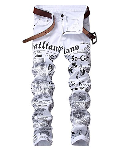 HEMIKS Men's Newspaper Letters Printed Jeans Slim Fit Zipper Skinny Denim Pants Jeans(White,32)