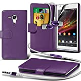 ONX3® ( Purple ) Sony Xperia SP Book Style PU Leather Wallet Card Flip Case Skin Cover W/ Screen Protector Guard & Aluminium In Ear Earbud Stereo Hands Free Headphones Earphone Headset