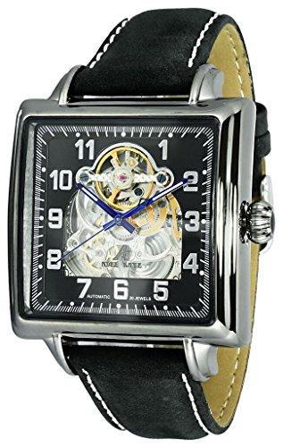 AdeeKaye AK8022 Men's 21-Jewel Automatic Square Watch-Gun Metal Tone/Black Silver dial/Black Suede ()