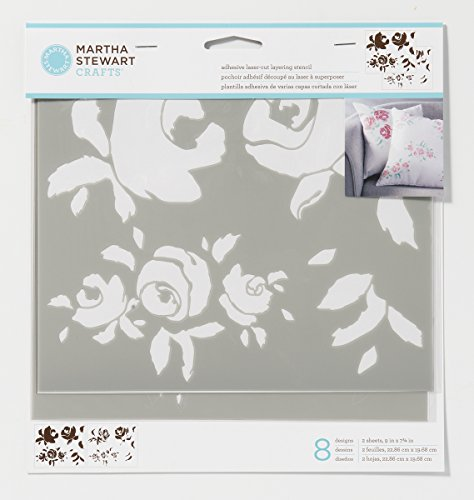 Martha Stewart 17631 Layering Big Blooms Stencil (Stewart Pillowcase Martha)