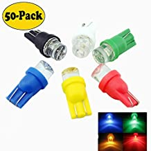 EverBrightt 50-Pack Mix 5-Colors(White/Blue/Red/Yellow/Green)T10 194 168 1 SMD Concave LED Bulb For Clearance Lighting / License Plate / Door Light / Width / Reading Light Interior Lamp Car Replacement Lights Bulb DC 12V