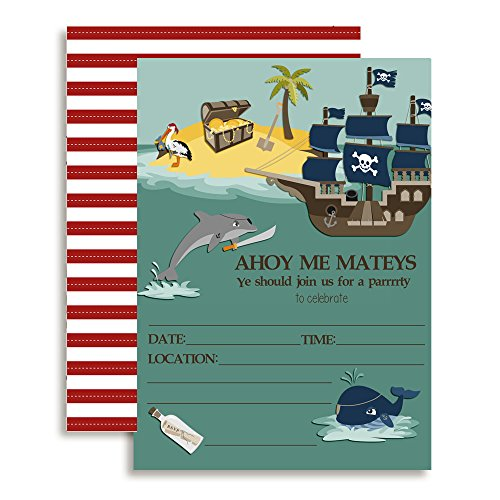 Pirates at Sea Birthday Party Fill in Invitations set of 10 with envelopes (Pirate Treasure Party Invitations)