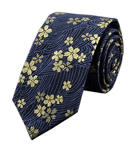 (Men's Navy Blue Gold Narrow Ties Cotton Flowers Printed Neckties Great for Gifts)