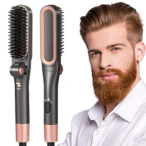Beard Straightener Comb for Men, Foldable Quick Electric Hair Beard Straightener Heated Beard Shaving Brush Comb, Ceramic Ionic Heating Control Hot Hair Comb with Anti-Scald, Home and Travel