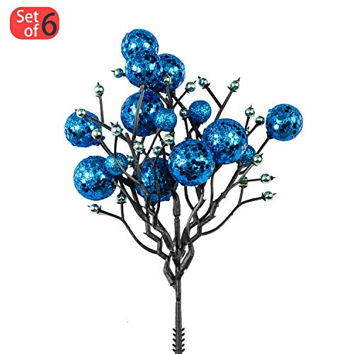 KI Store Christmas Berry Picks Decorations Artificial Glittered Berries Stems Crafts Tree Decoration Patriotic Ornaments for Xmas Tree Wedding Centerpiece Pack of 6 (Royal Blue)
