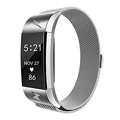 Fitbit Charge 2 Bands Metal, Akale Milanese Loop Stainless Steel Metal Bracelet Strap with Unique Magnet Lock, No Buckle Needed for Fitbit Charge 2 HR Fitness Tracker Sliver Black, Rose Gold