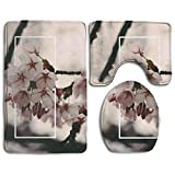 Bathroom Accessories Bath Rug Microfiber 3D Pattern Peach Blossom Sets 3 Piece Toilet Mats Anti Slip Shower Floor Rugs Pedestal Rug + Lid Toilet Cover + Bath Mat