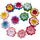 12pcs Assorted 3D Three Layers 3 Colors Crochet Flowers Knitted Handmade Applique Crochet Flower Patch Embellishments DIY Hair Accessories Jewelry Making Phone Case: more info