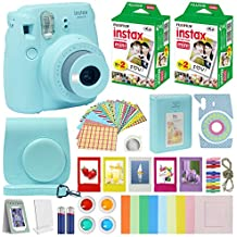 Fujifilm Instax Mini 9 Instant Camera ICE Blue w/Case + Fuji Instax Film Value Pack (40 Sheets) for Fujifilm Instax Mini 9 Camera + Accessories Bundle, Color Filters, Photo Album, Selfie Lens + More