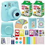 Fujifilm Instax Mini 9 Instant Camera ICE Blue with Custom Case + Fuji Instax Film Value Pack (40 Sheets) Accessories Bundle, Color Filters, Photo Album, Assorted Frames, Selfie Lens + More