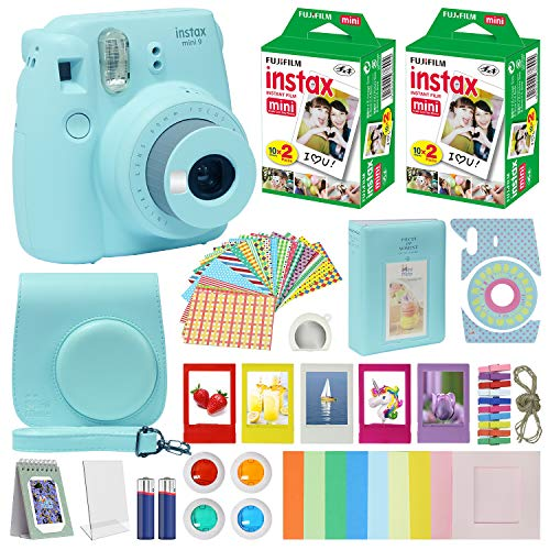 Fujifilm Instax Mini 9 Instant Camera ICE Blue w/Case + Fuji Instax Film Value Pack (40 Sheets) for Fujifilm Instax Mini 9 Camera + Accessories Bundle, Color Filters, Photo Album, Selfie Lens + More
