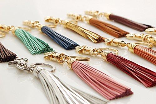 Women Genuine Leather Tassel Keychain Ring Bag Charm Handbag Wallet 12 Colors