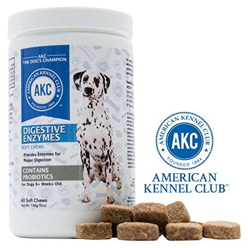 American Kennel Club AKC Probiotics and Digestive Enzymes Supplement for Dogs- Improves Digestion, Immune System, Bad Breath and Upset Stomach - 60 Soft Chews For Dogs