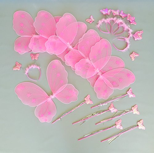 Butterfly Craze Fairy Wings and Wand for Girls Birthday Party Favor in Bulk Packages 6 Pink Set -