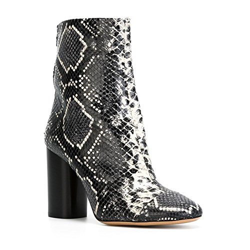 Sexy Ladies NVXIE Spring EUR36UK354 Women High Leather Heel Rough Winter Boots Serpentine GRAY Shoes Short Ankle Autumn Pointed pEpqw5xf4