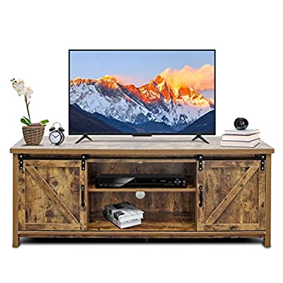 """Bizzoelife 60 Inch Barn Door TV Stand Entertainment Center - New Farmhouse Style Sliding TV Cabinet, Living Room Wood Storage Media Console Table with 2 Center Compartments and 2 Cabinets (Rustic) - [Modern Farmhouse Design]: The television stand features trendy barn doors that add rustic charm to your living room, hallway or bedroom; and round corners at front that keep your family safe from sharp edges;accommodates most flat screen TVs up to 60"""". [Stylish and Considerate Details]: sliding barn door design to conceal side storage cabinets or center storage shelves;2 cord management holes at the back bring convenience for your cords and wires to be safely thread through to its power source, which can be out of sight and out of the way. [Sturdy Construction]: Well-constructed with eco-friendly P2 class particle board, the tv console is of great stability and durability, load-bearing for the top up to 240 lbs and middle selves up to 20 lbs and bottom shelves up to 40 lbs. It also comes with furniture pads to protect the floor from scratches. - tv-stands, living-room-furniture, living-room - 517agLYBFCL. SS400  -"""