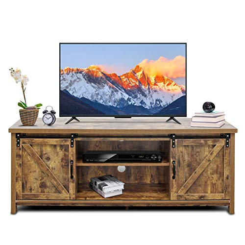 Bizzoelife Barn Door TV Stand Media Console Table, 60 Inches Sliding TV Cabinet Entertainment Center - 60 Inch Console