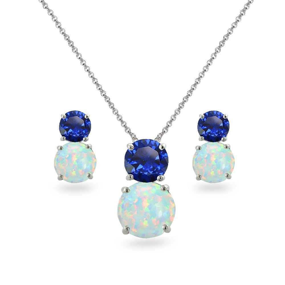 Sterling Silver Created Blue Sapphire & Simulated Opal Double Round Stud Earrings & Necklace Set