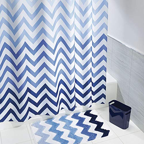 (mDesign 3 Piece Decorative Chevron Bathroom Decor Set - Fine Weave Polyester Fabric Shower Curtain, Microfiber Non-Slip Bathroom Accent Rug, Wastebasket Trash Can - Blue Multi Color)