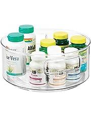mDesign Lazy Susan Taca – obrotowy, okrągły pojemnik do przechowywania leków i suplementów zdrowotnych – idealny organizer do przechowywania artykułów medycznych, witamin, suplementów i innych – przezroczysty