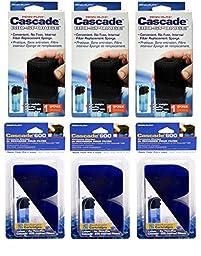 Penn Plax Cascade 600 Internal Filter Replacement Cartridges (9-Pack Media Set)
