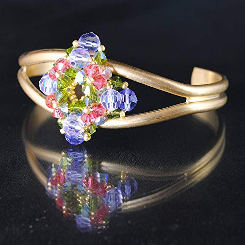 Beaded Art Bracelet with Swarovski Crystals Woven on Natural Brass Cuff; Artisan Handcrafted