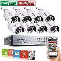 KAREye 1080N 16CH Video Security System 8 Bullet IP66 Weatherproof Camera,Outdoor Indoor Day Night IR-CUT CCTV Surveillance System,100ft Night Vision,1TB HDD