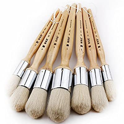 7 Pcs Wooden Handle Round Bristles Paint Brushes for Oil, Watercolor, Wash, Pottery Painting