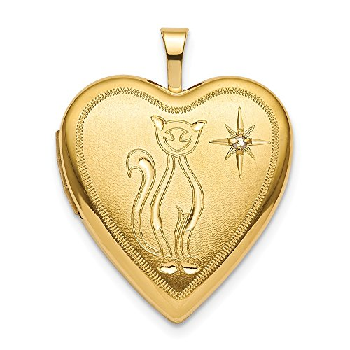 ICE CARATS 925 Sterling Silver Gold Plated 20mm Diamond Cat Heart Photo Pendant Charm Locket Chain Necklace That Holds Pictures Fine Jewelry Gifts for Women for Her