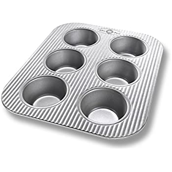 USA Pan Bakeware Toaster Oven Muffin Pan, 6 Well, Nonstick & Quick Release Coating, Made in the USA from Aluminized Steel