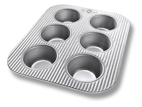 (USA Pan Bakeware Toaster Oven Muffin Pan, 6 Well, Nonstick & Quick Release Coating, Made in the USA from Aluminized Steel)