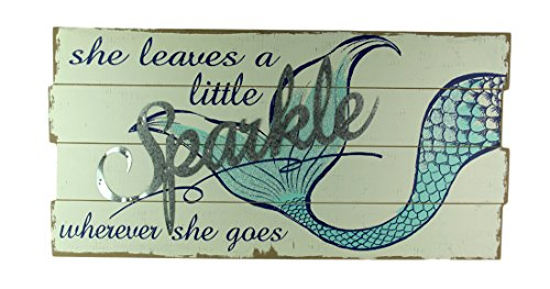 Fancy That She Leaves a Little Sparkle Glitter Mermaid Tail Wall Hanging