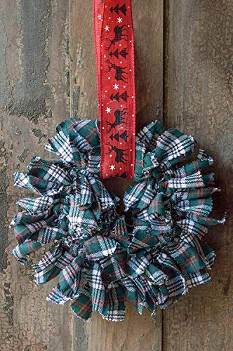green and red plaid fabric wreath   Rustic Tartan Plaid Farmhouse Decor   Small 6 inch   Fabric Rags   Red Holiday reindeer Ribbon