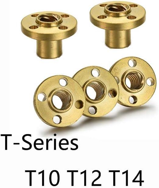 1pc S/érie T T10 T12 T14 Vis /écrou Bride Bride en cuivre Vis trap/ézo/ïdale /Écrou en laiton Vis plomb T14x3MM