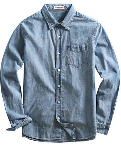 MOCOTONO Men's Denim Long Sleeve Pocket Slim Fit Shirt Washed Blue Mediem