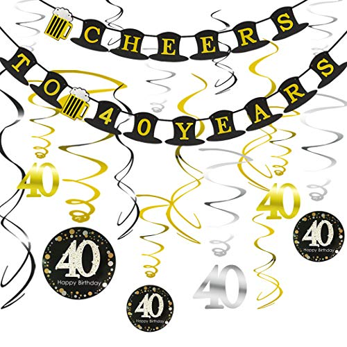 40th BIRTHDAY PARTY DECORATIONS KIT - Cheers to 40 Years Hat Banner, Sparkling Celebration 40 Hanging Swirls, Perfect 40 Years Old Party Supplies 40th Anniversary ()