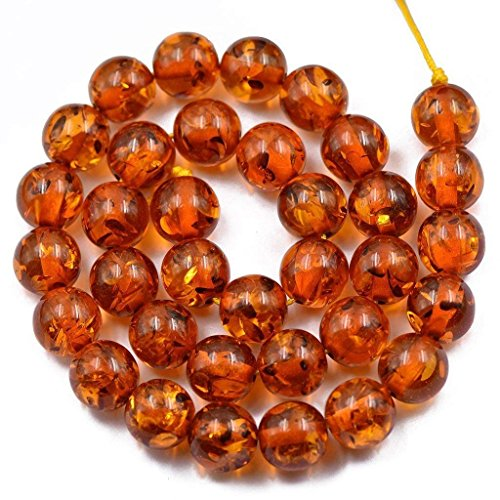 - SODIAL 12mm Artificial Synthetic Loo Round Amber Bead Jewelry Making Crafts Strand 15 inch - Brown