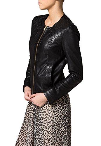 Véritable Veste En Cuir Pour Les Femmes - Cuir Noir En Peau D'agneau Ll424 - Par Trendtales