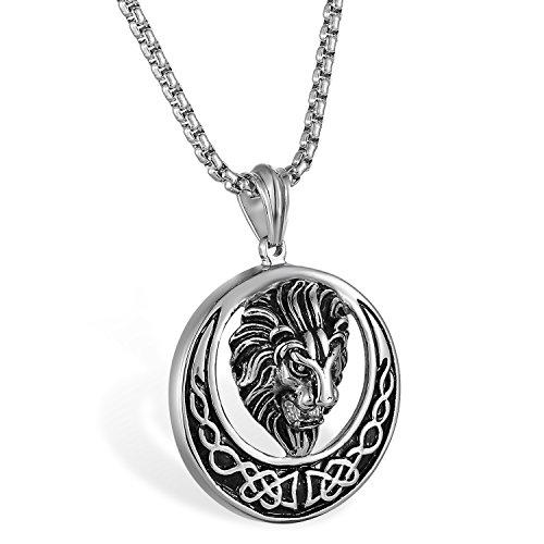 JewelryWe Schmuck Herren Biker Halskette, Edelstahl Retro Gotik Löwe Löwenkopf Irische Keltische Knoten Kreis Anhänger mit 22 Zoll Weizen Kette, Silber Gold