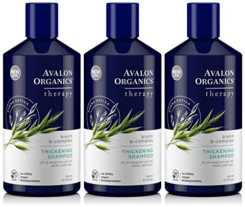 Lot of 3 Avalon Organics Biotin B-Complex Therapy Thickening Shampoo 14 Oz