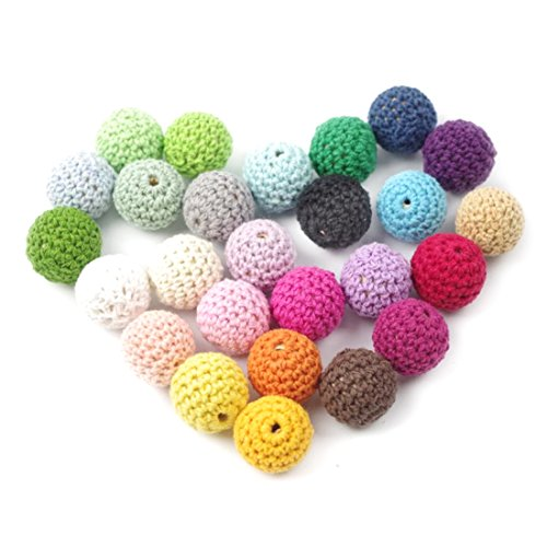 [50pc Wooden Crochet Covered Beads Colour Mix Ball 16mm For Baby Teething Diy Necklace Mini Crochet] (Necklace Love Beads)