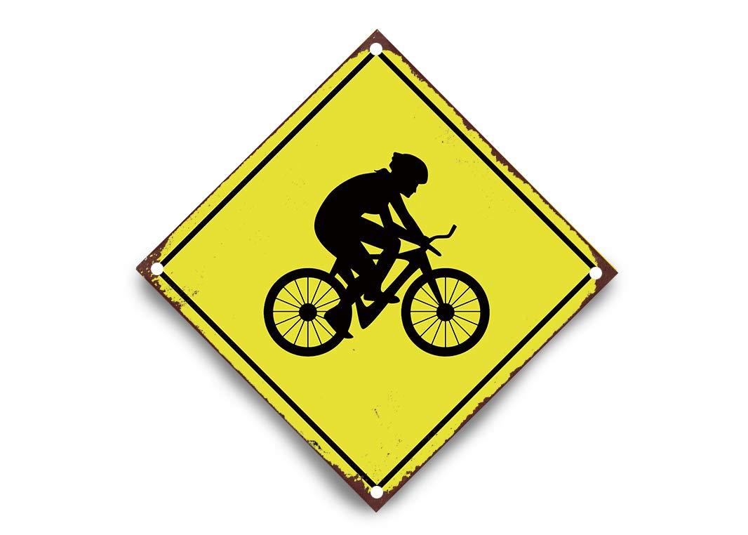wendana Señal de Cruce de Bicicleta BMX de Aluminio Amarillo con ...